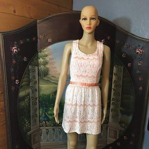 Peach Dress With White Lace overlay Sz. XL